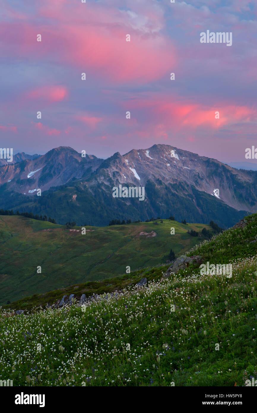 Looking back towards White Pass in the Glacier Peak Wilderness at sunset. Washington, USA. Stock Photo