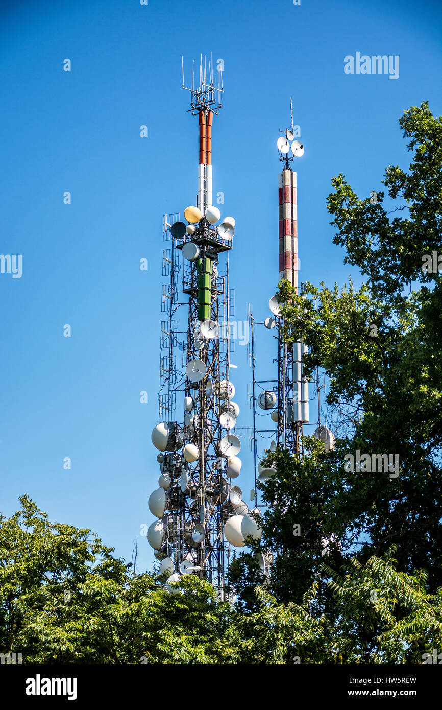 Antennas tower for radio and TV signal Stock Photo