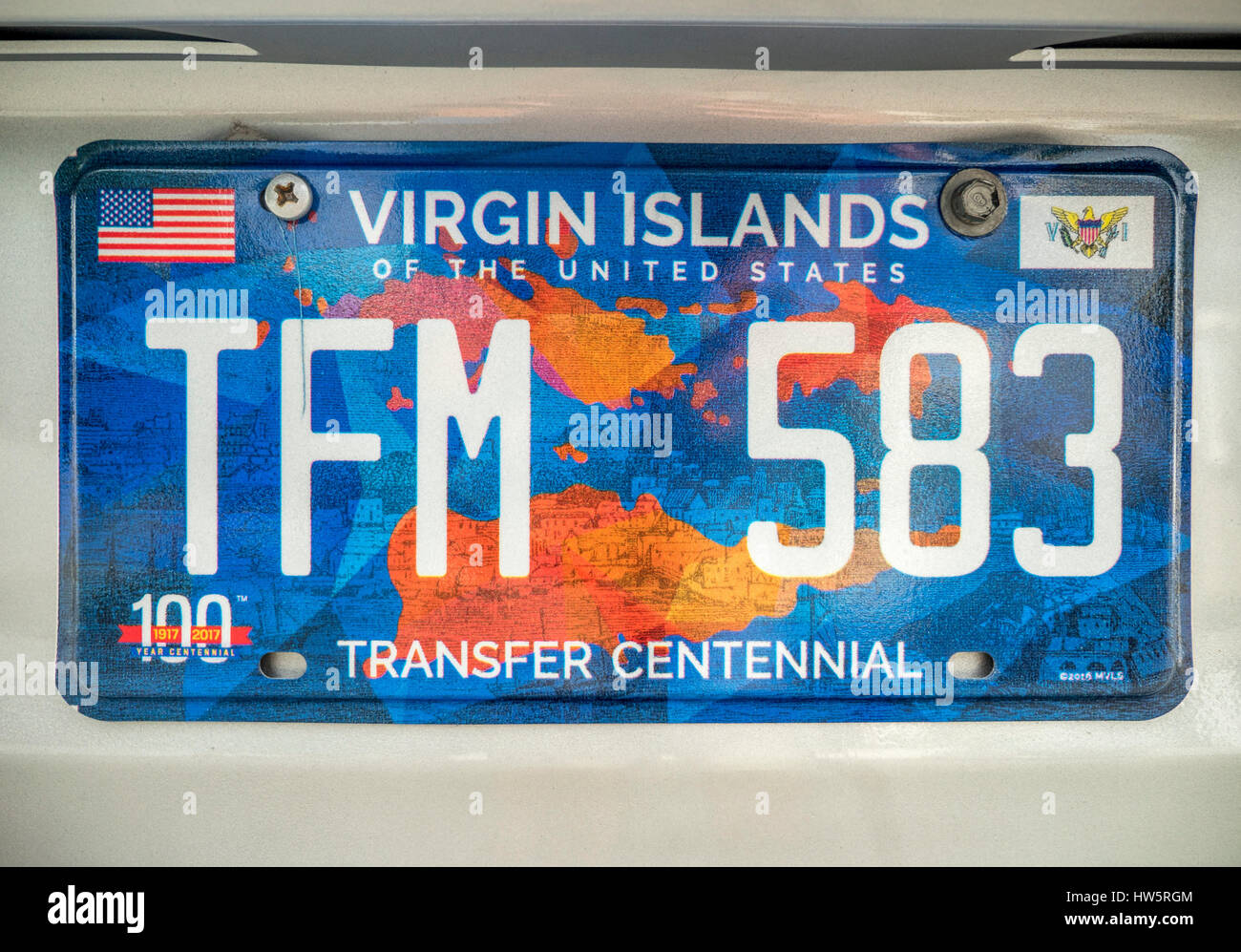 U.S. Virgin Islands Car Vehicle Registration Licence Plates Tag On The Back Of Cars Stock Photo
