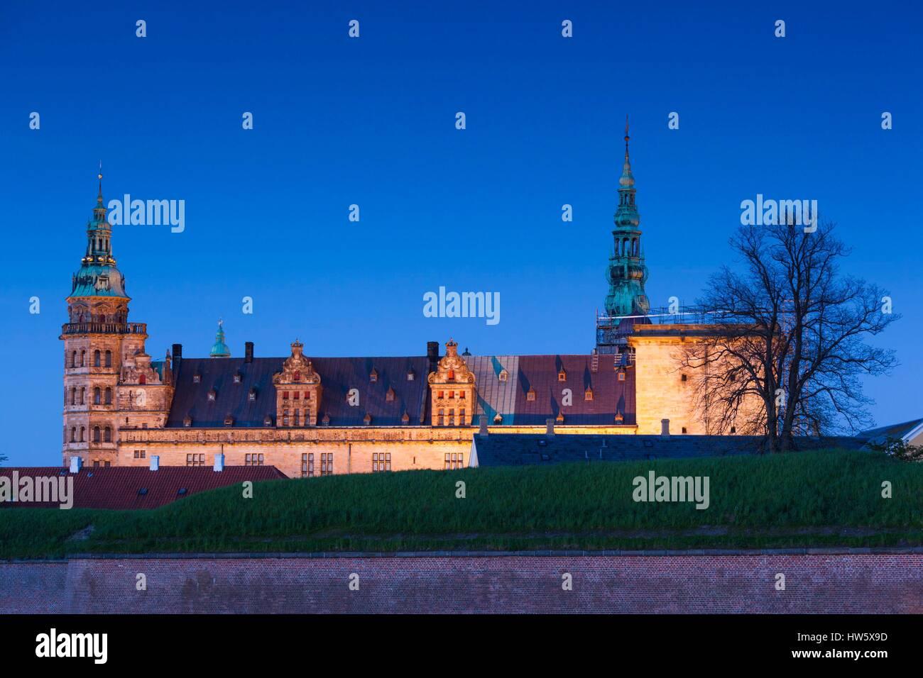 Denmark, Zealand, Helsingor, Kronborg Castle, also known as Elsinore Castle, from Shakespeare's Hamlet, eveing - Stock Image