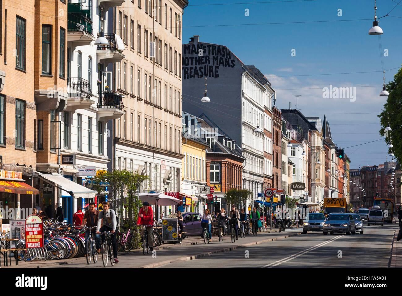 Denmark, Zealand, Copenhagen, Norrebro, Norrebrogade street - Stock Image