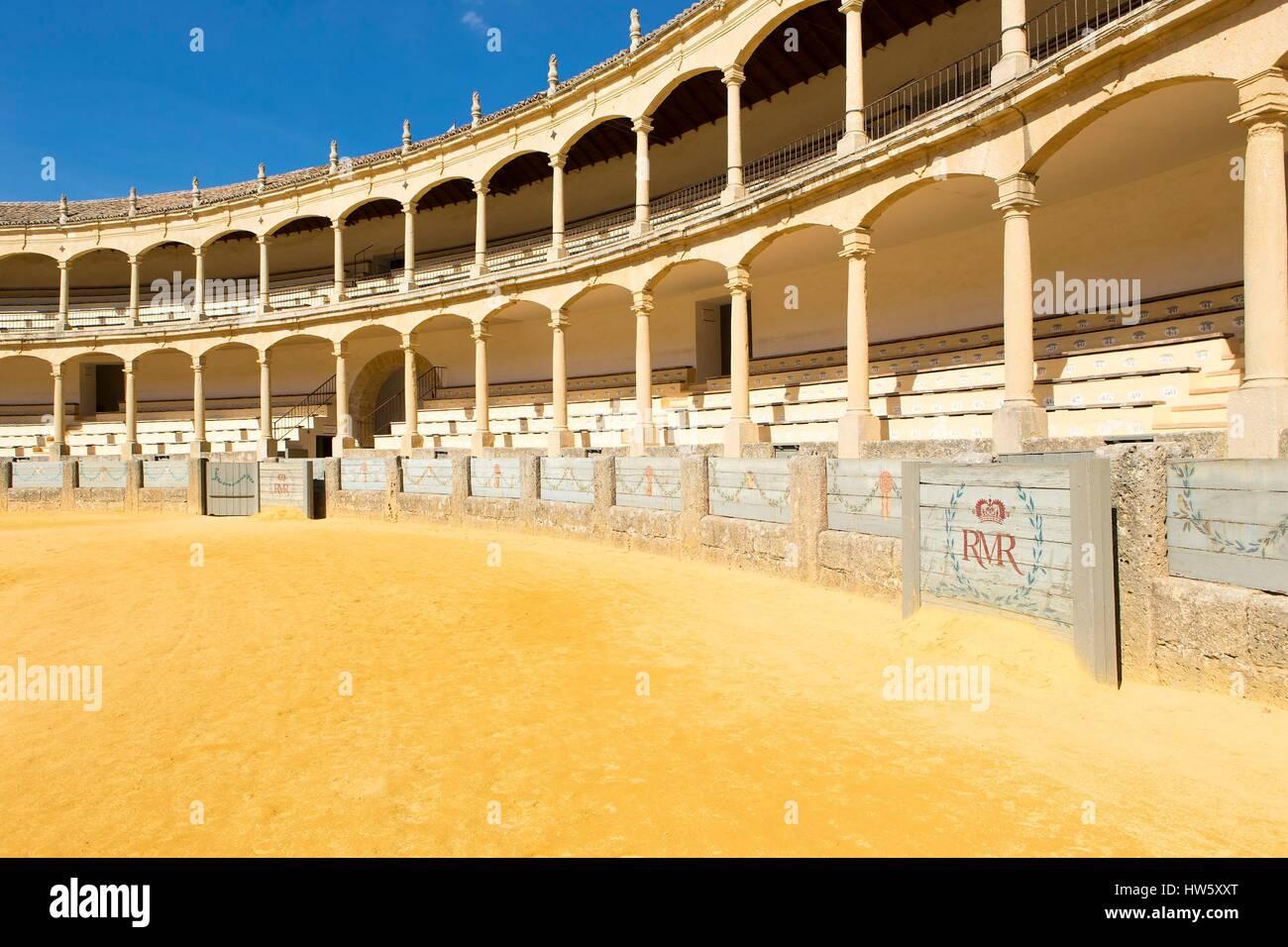 Spain, Andalucia, Malaga Province, Ronda, bull ring Plaza de Toros de la Real Maestraza de Caballeria - Stock Image