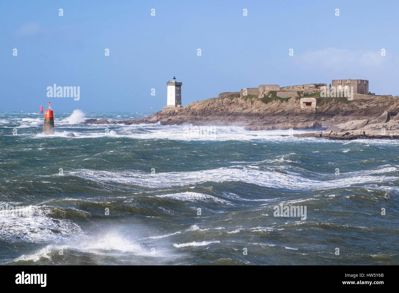 France, Finistere, Iroise Sea, Armorique Regional Nature Park , Le Conquet, Kermorvan lighthouse and Pointe, stormy Stock Photo