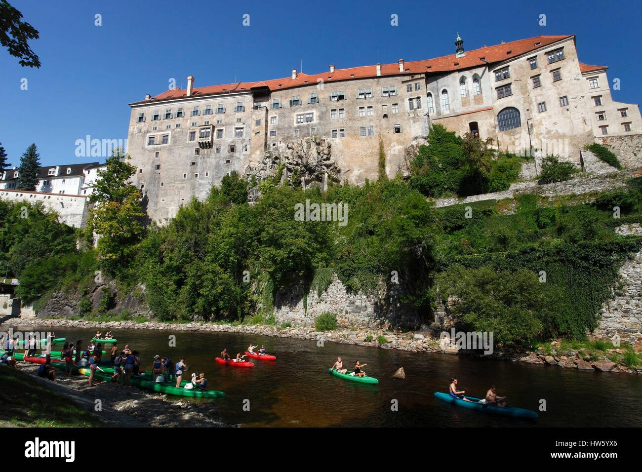 Czech Republic, South Bohemia, Cesky Krumlov, historical center listed as World Heritage by UNESCO, the castle, - Stock Image
