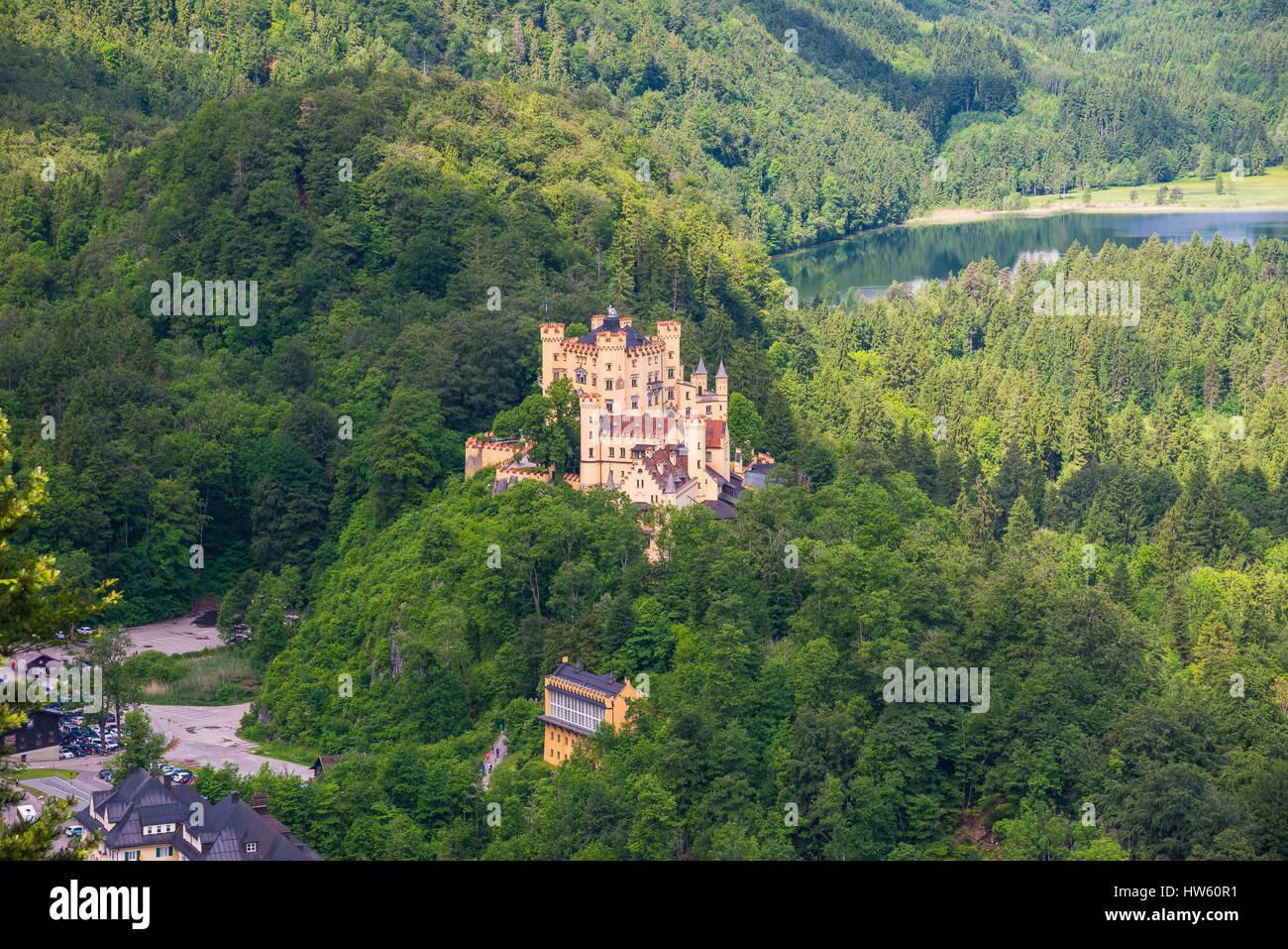 Hohenschwangau Castle, beautiful Romanesque Revival palace, southwest Bavaria, Germany - Stock Image