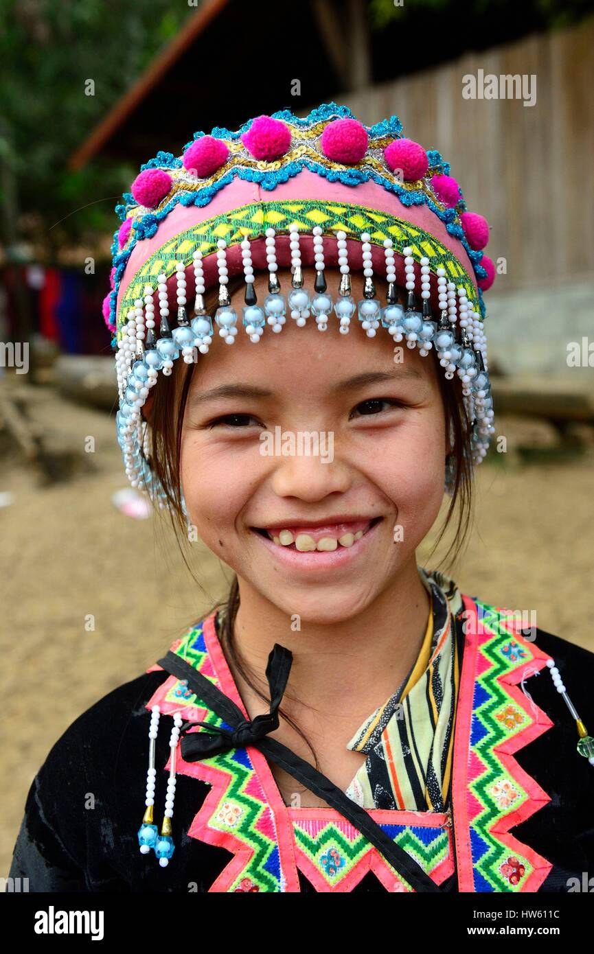 Laos, Luang Prabang province, Na Wan, ethnic group Hmong, girl Hmong's in traditional suit - Stock Image