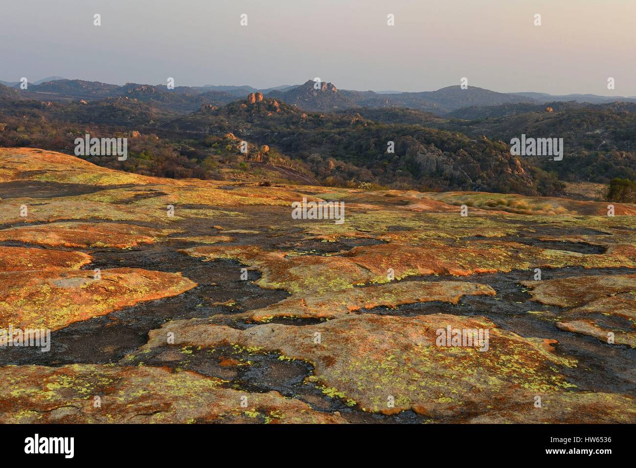 Zimbabwe Matabeleland South Province Matobo or Matopos Hills National Park listed as World Heritage by UNESCO rock - Stock Image