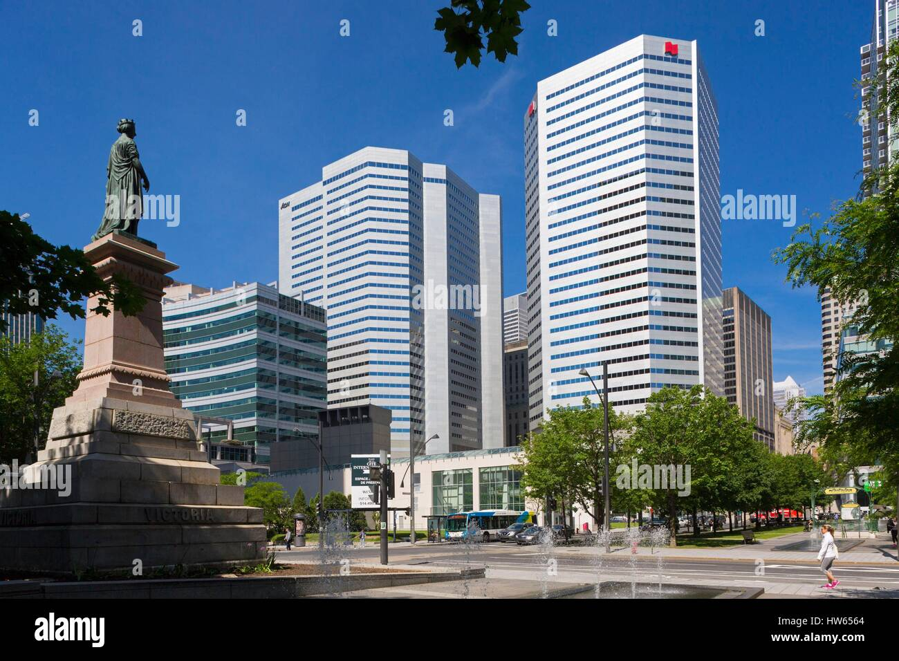 Canada Quebec province Montreal the International Quarter Victoria Square statue of the Queen Bell and National - Stock Image