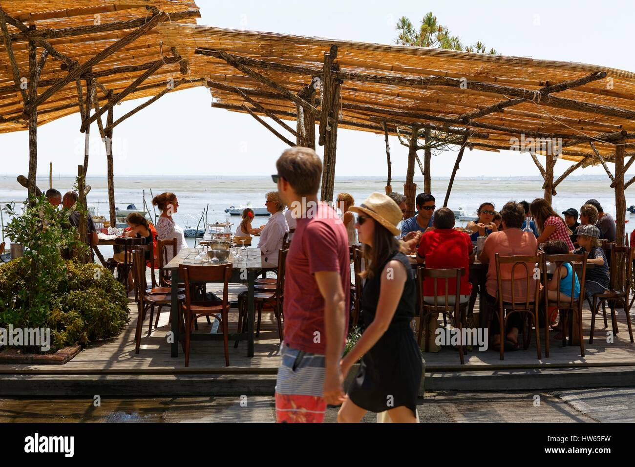 France, Gironde, Bassin d'Arcachon, Cap Ferret, Chez Edouard, oyster restaurant - Stock Image