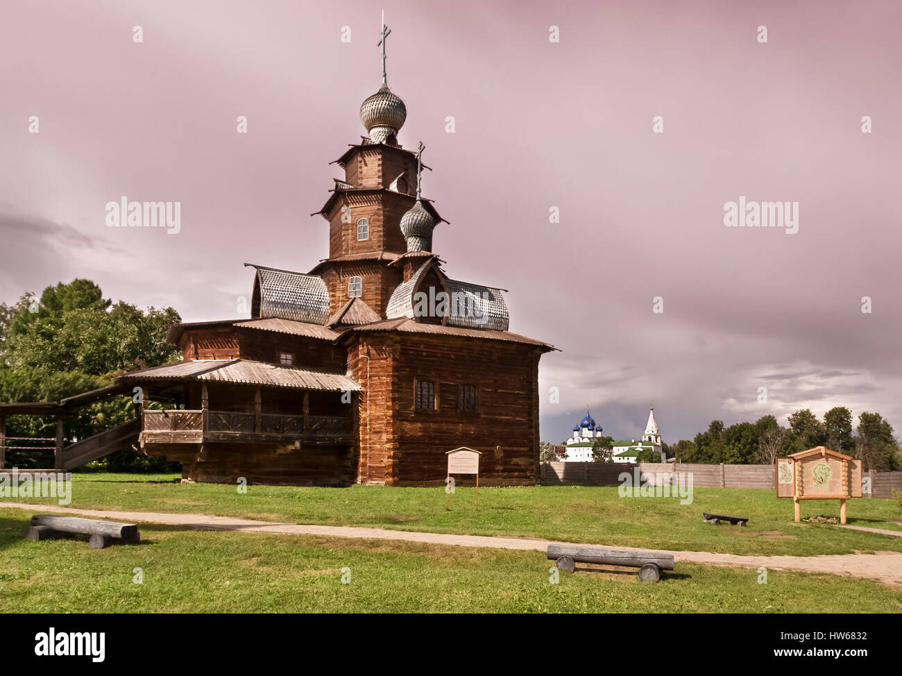 Wooden church in suzdal - Stock Image