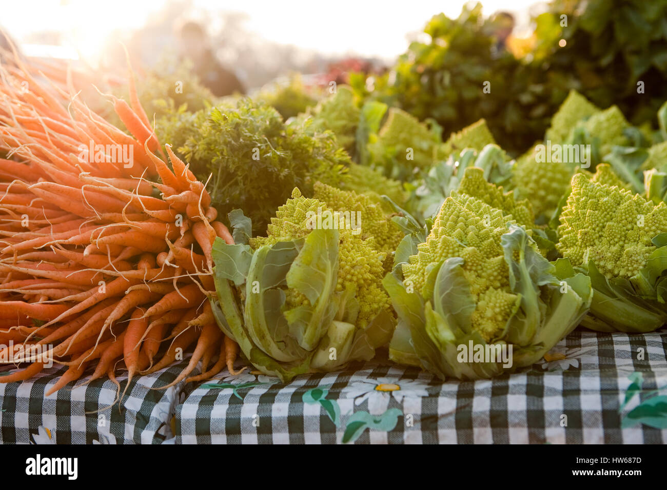 Romanesco cauliflower and carrots for sale at a Farmer's Market. - Stock Image