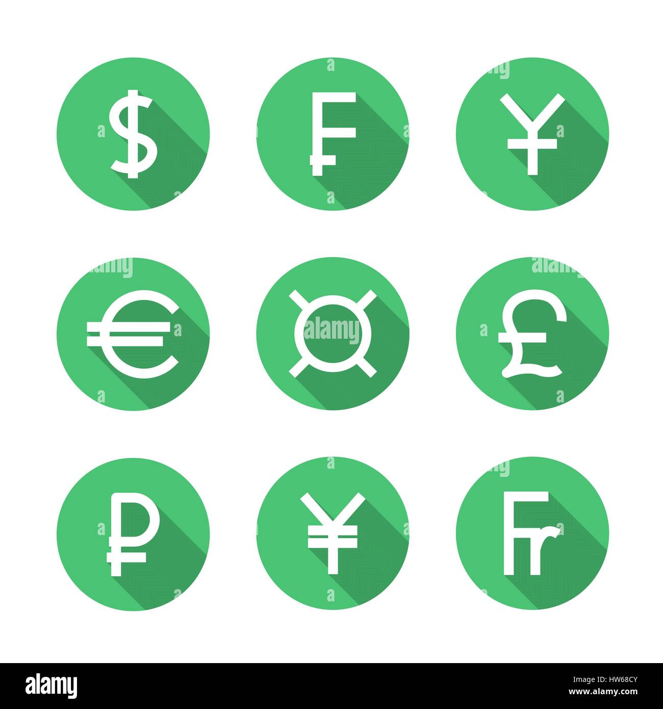 Set  symbols of the leading world  currencies with long diagonal shadow, vector illustration. - Stock Vector