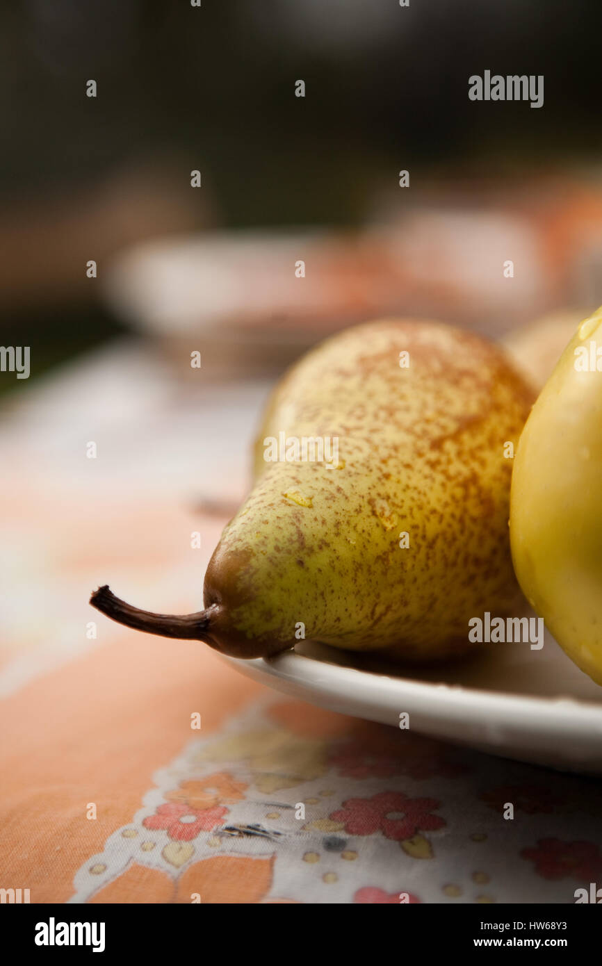 Plate of pears - Stock Image