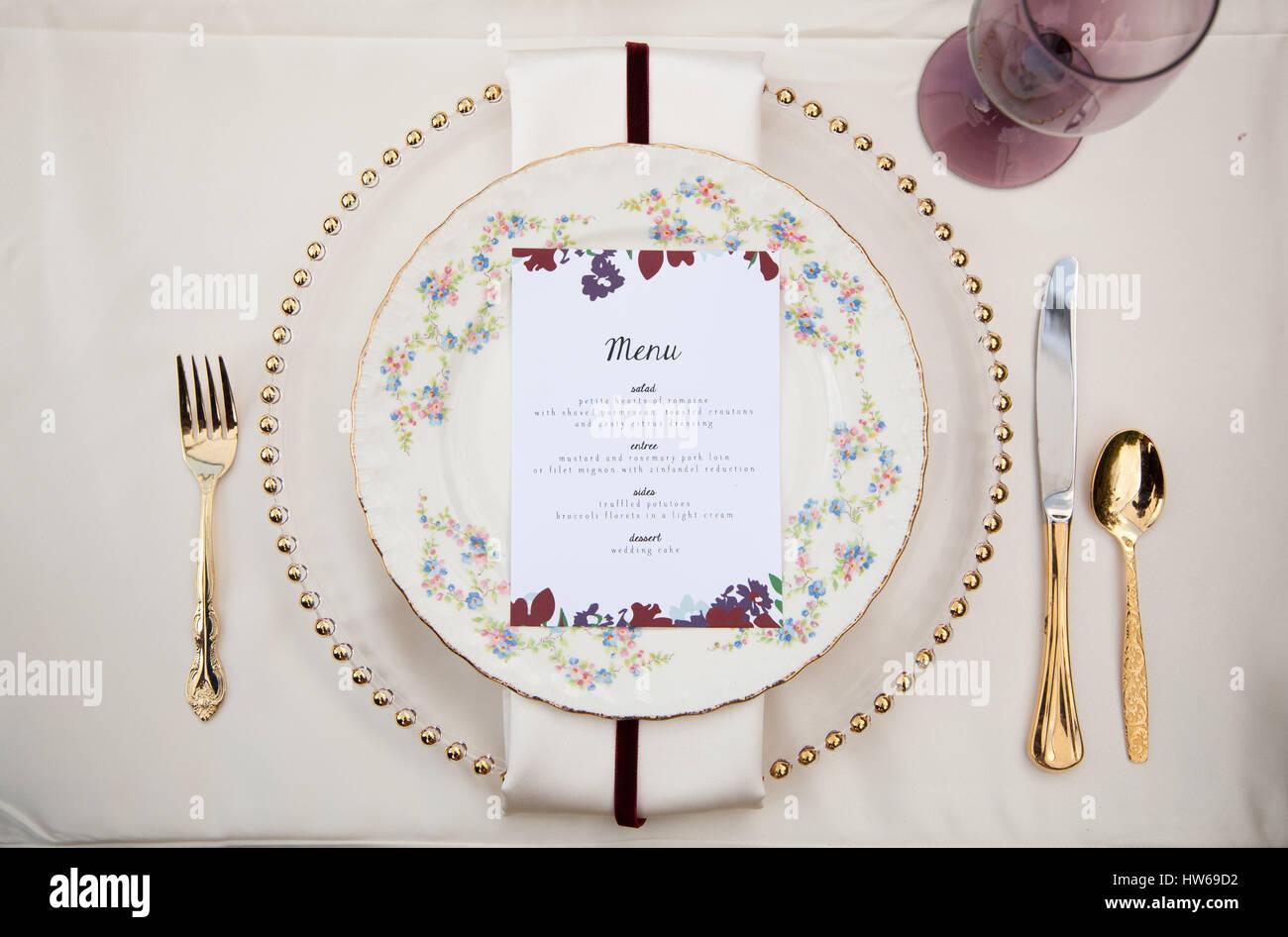 Reception menu - Stock Image