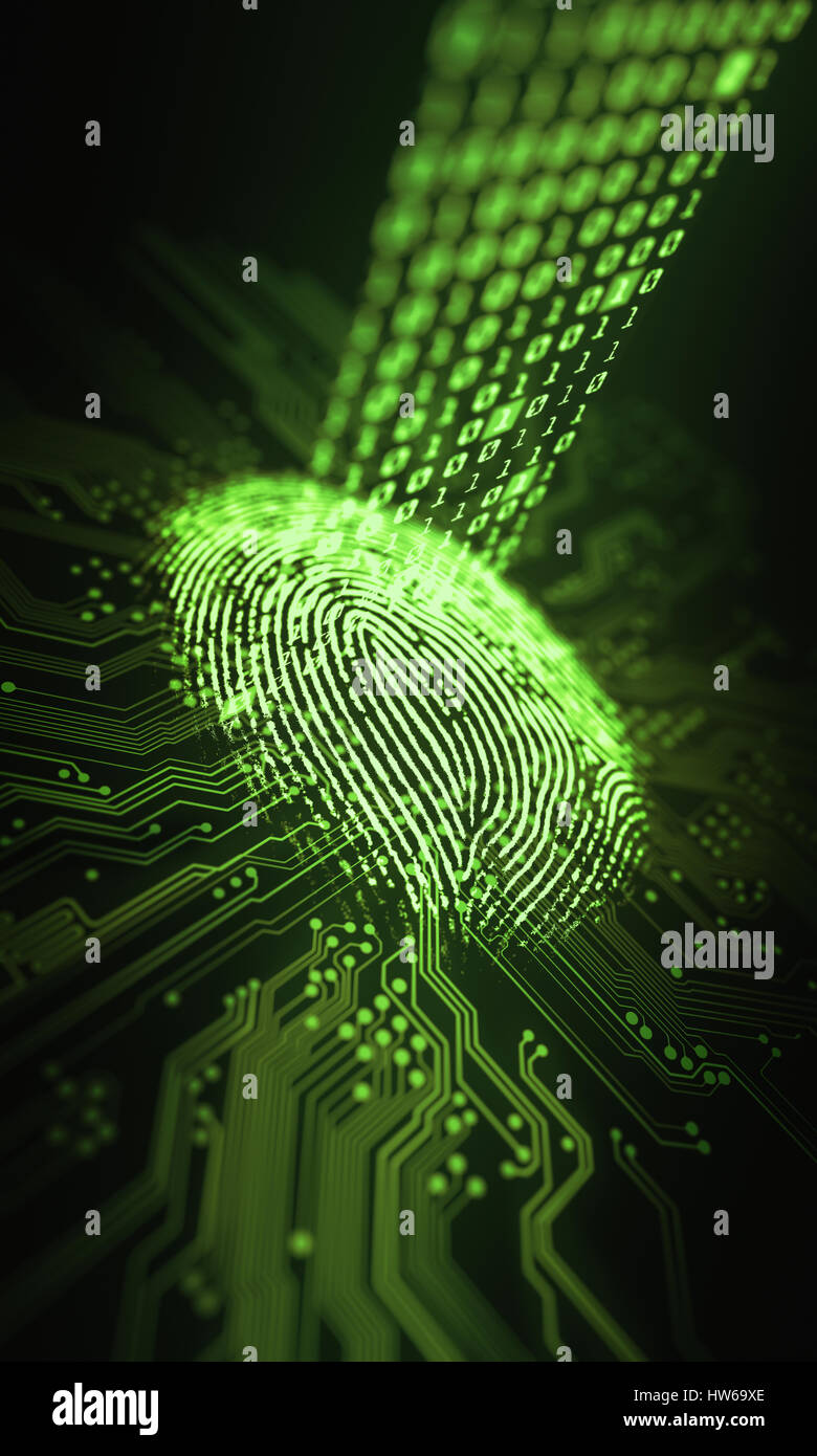 Fingerprint And Printed Circuit Board Illustration Stock Photo Of A Green