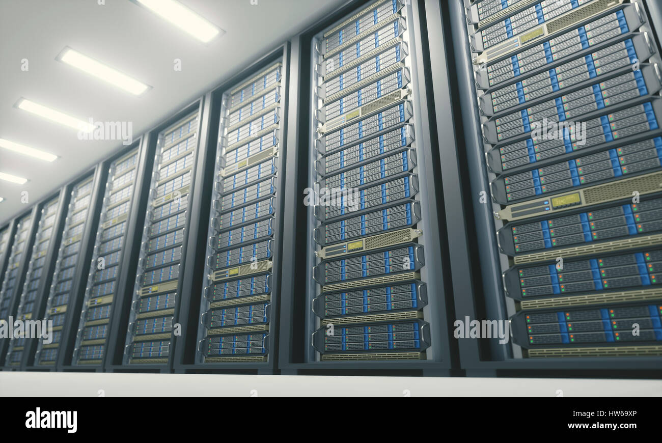 Computer server room, illustration. - Stock Image