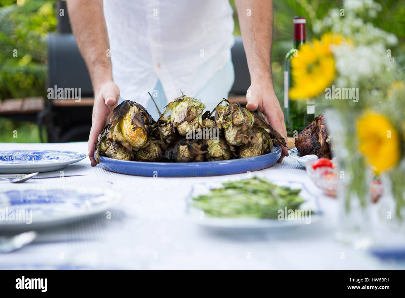 Grilled Corn on the Cob - Stock Image