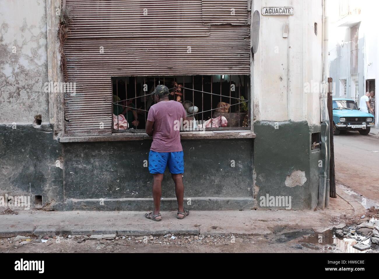 Meat seller on Havana street 2017 - Stock Image