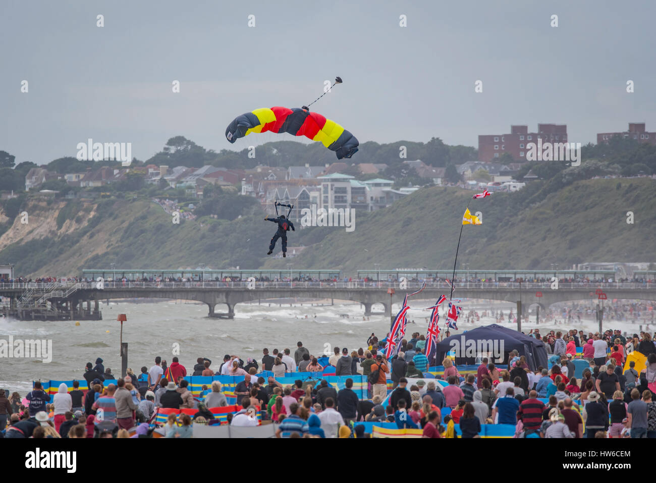 Parachutist landing at the 2016 Bournemouth Air Festival. - Stock Image