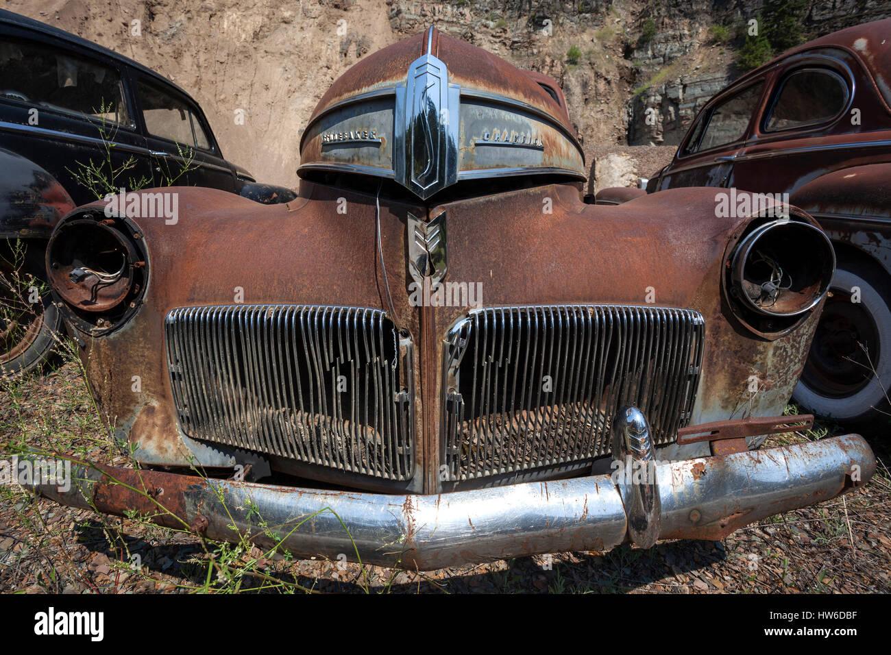 Oldtimer, Studebaker Champion, scrap car, near Spokane, Washington, USA - Stock Image