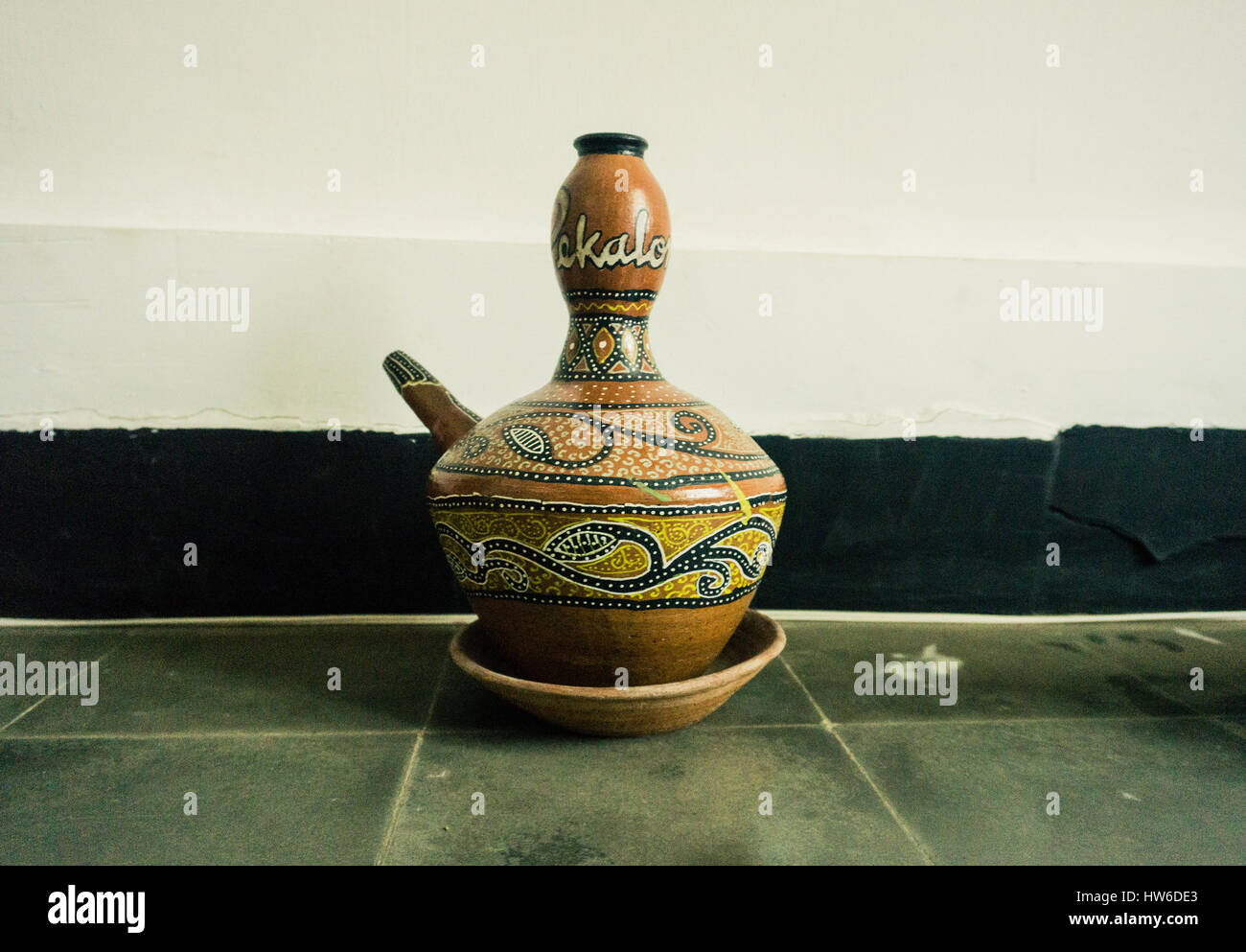 Kendi As One Of Traditional Pottery Made From Clay With Unique Motif