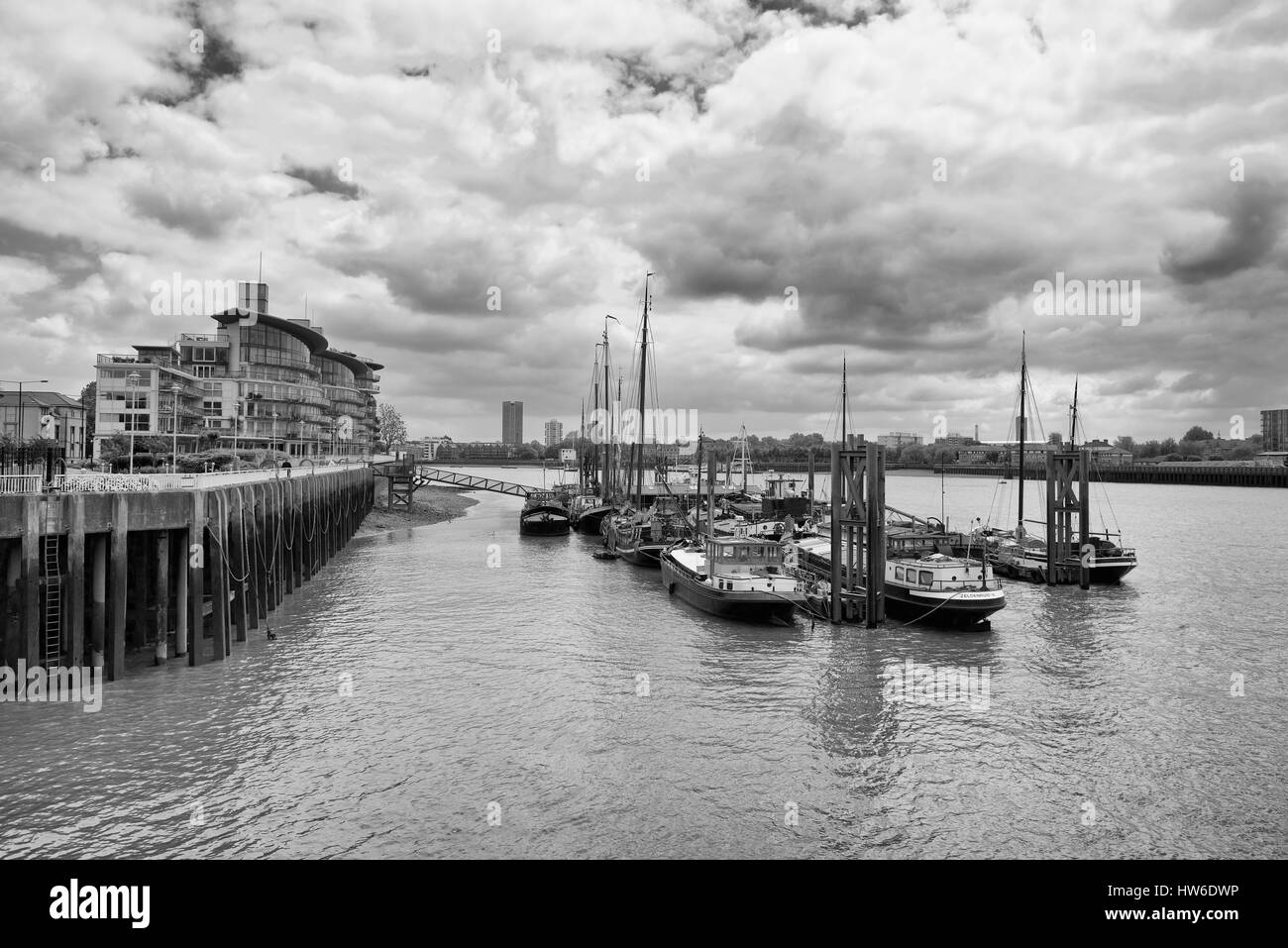 Hermitage Community Moorings, River Thames, London, England Stock Photo