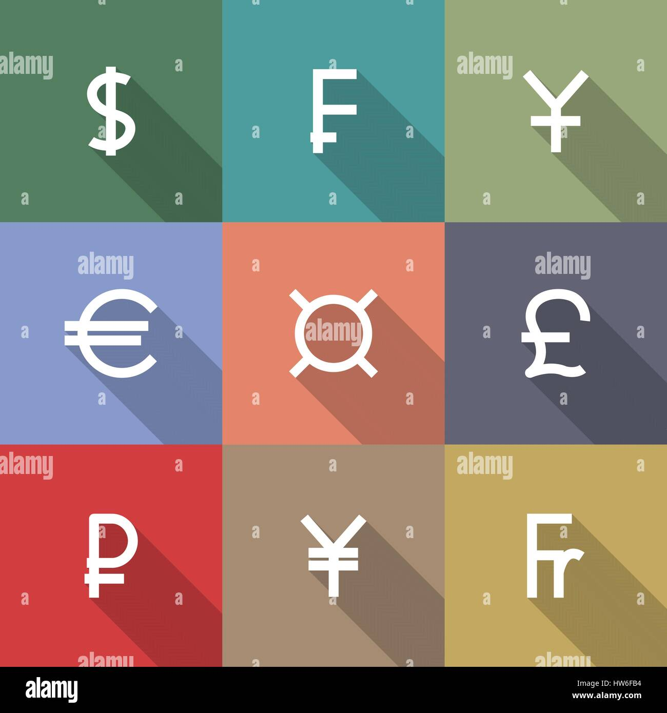Set of nine square icons symbols of the leading world currencies , flat style, long diagonal shadow, vector illustration. - Stock Vector