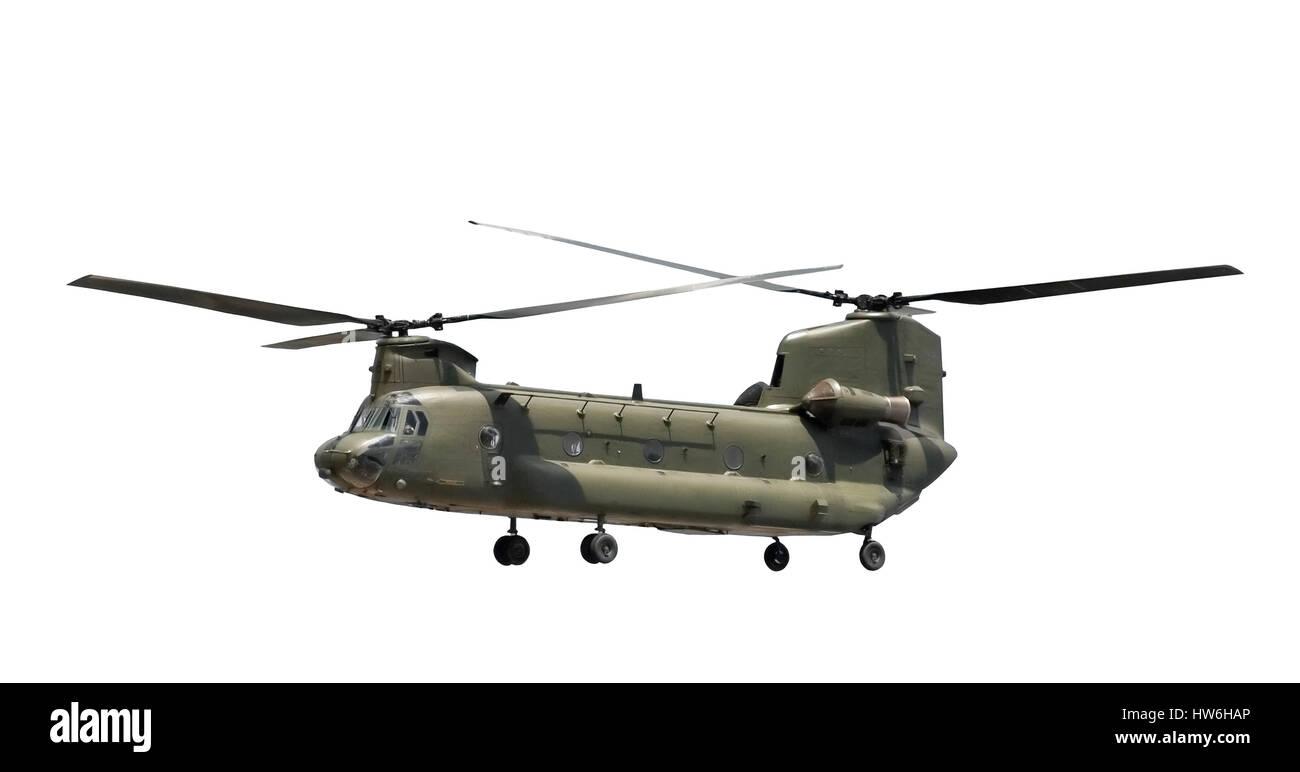 large military cargo helicopter isolated on white - Stock Image