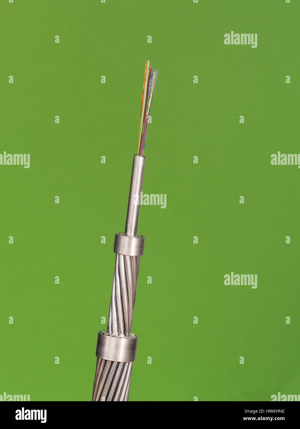 High voltage conventional ACSR design power line conductor on green background, Australia 2015 - Stock Image