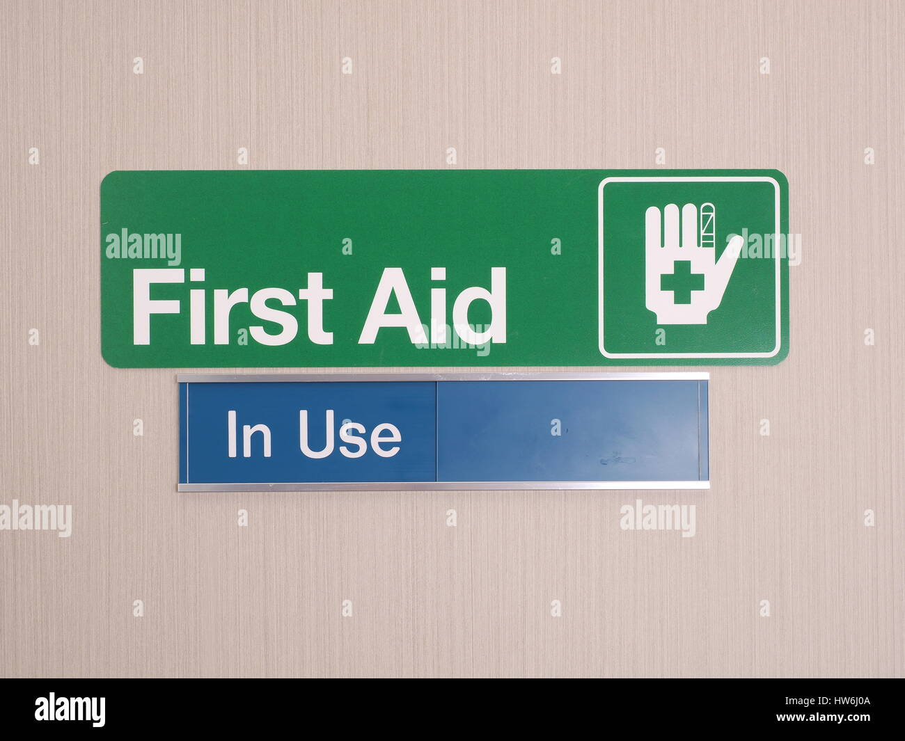First aid door sign with occupied indicator at an industrial first aid room Melbourne 2015  sc 1 st  Alamy & First aid door sign with occupied indicator at an industrial first ...