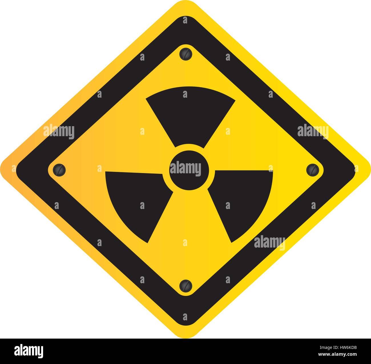 metal emblem warning radiation sign - Stock Vector