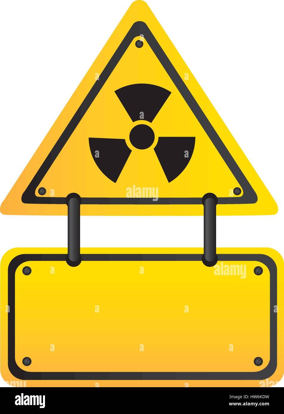 metal emblem warning radiation notice sign - Stock Vector