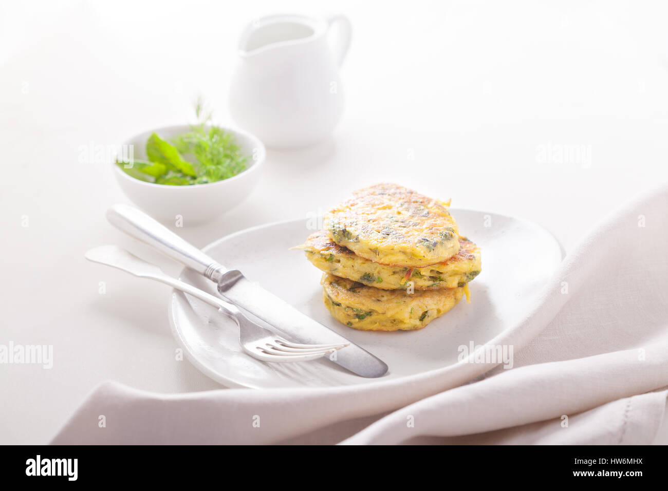 Healthy Zucchini fritters - Stock Image
