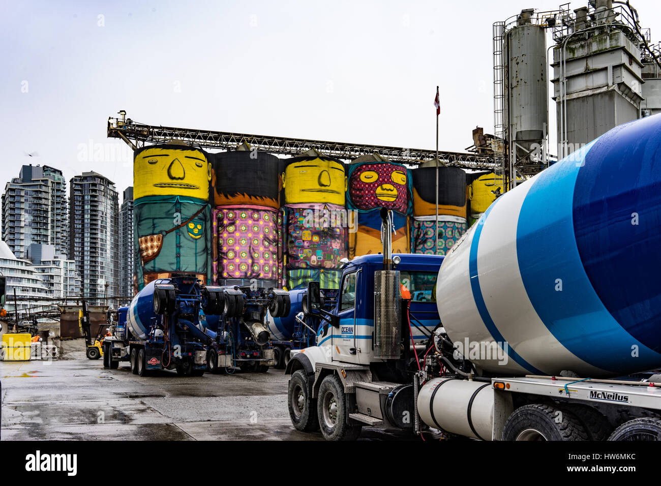 Giants from Grain Silos by OSGEMEOS Brazilian Artists designed for Vancouver's Biennale on Granville Island. - Stock Image