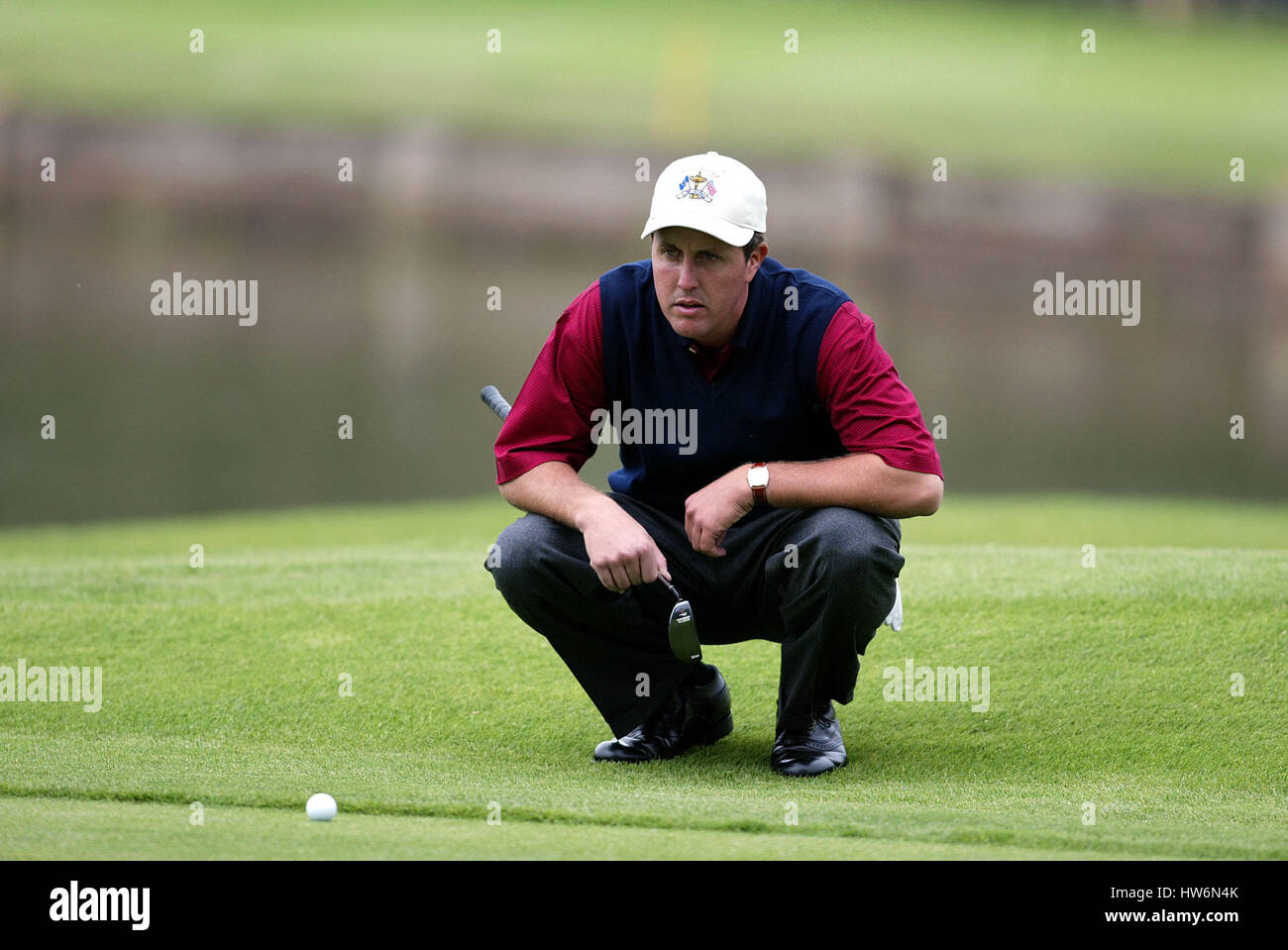 PHIL MICKELSON RYDER CUP 02 9TH GREEN THE BELFRY SUTTON COLDFIELD BIRMINGHAM ENGLAND 27 September 2002 - Stock Image