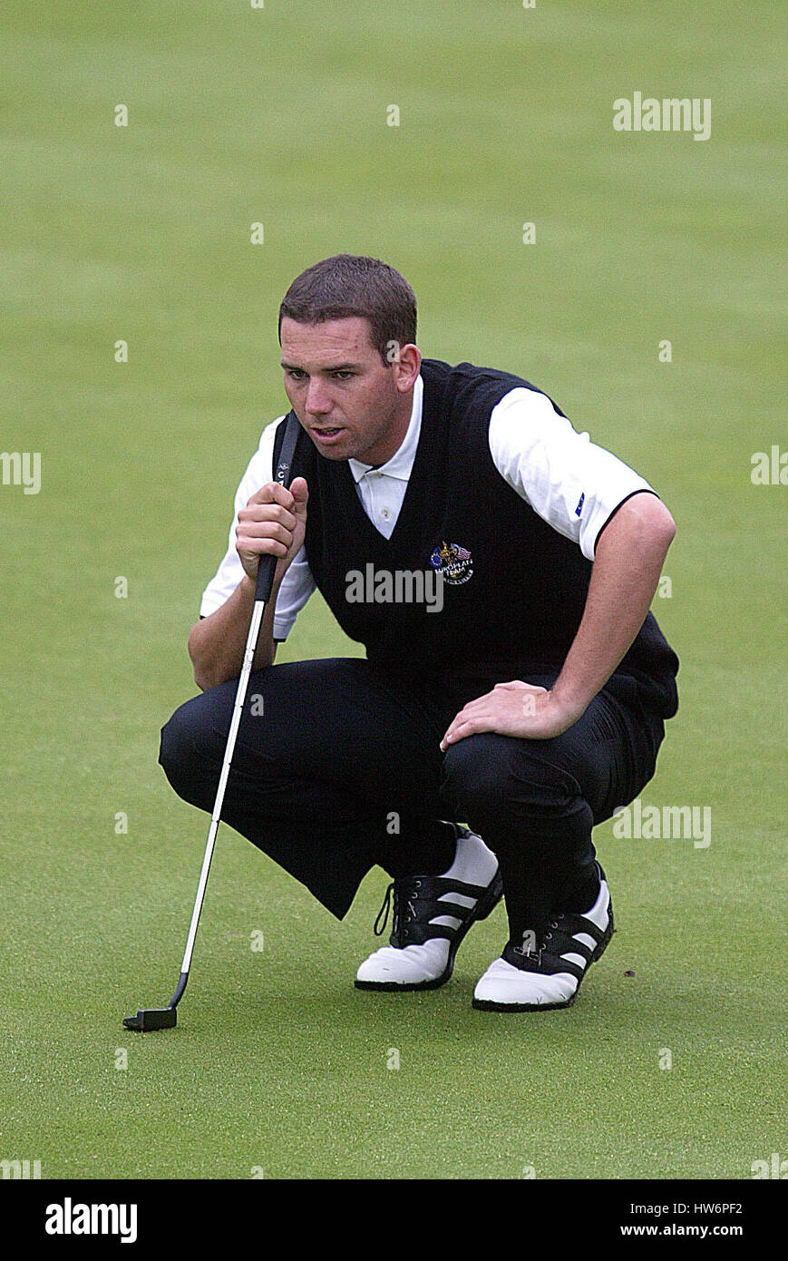SERGIO GARCIA RYDER CUP 02 10TH GREEN THE BELFRY SUTTON COLDFIELD BIRMINGHAM ENGLAND 28 September 2002 - Stock Image