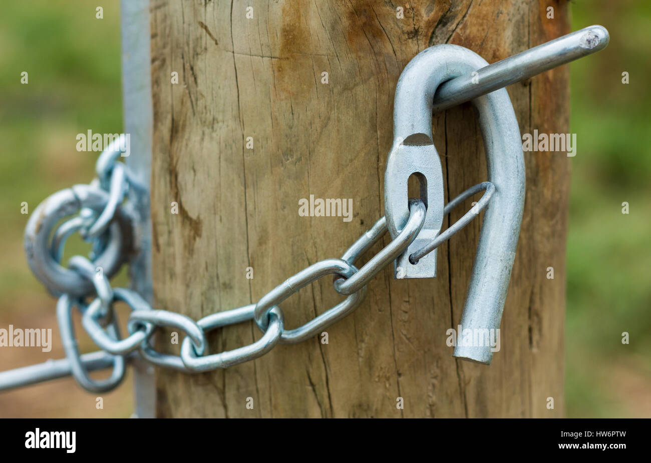 Galvanized gate hook on a wooden fence post. - Stock Image