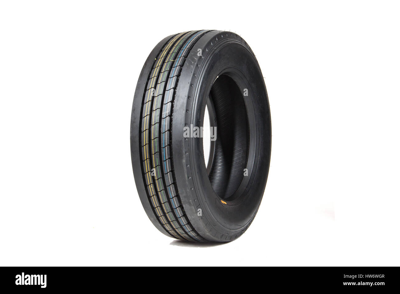 Car tire isolated on white background. - Stock Image
