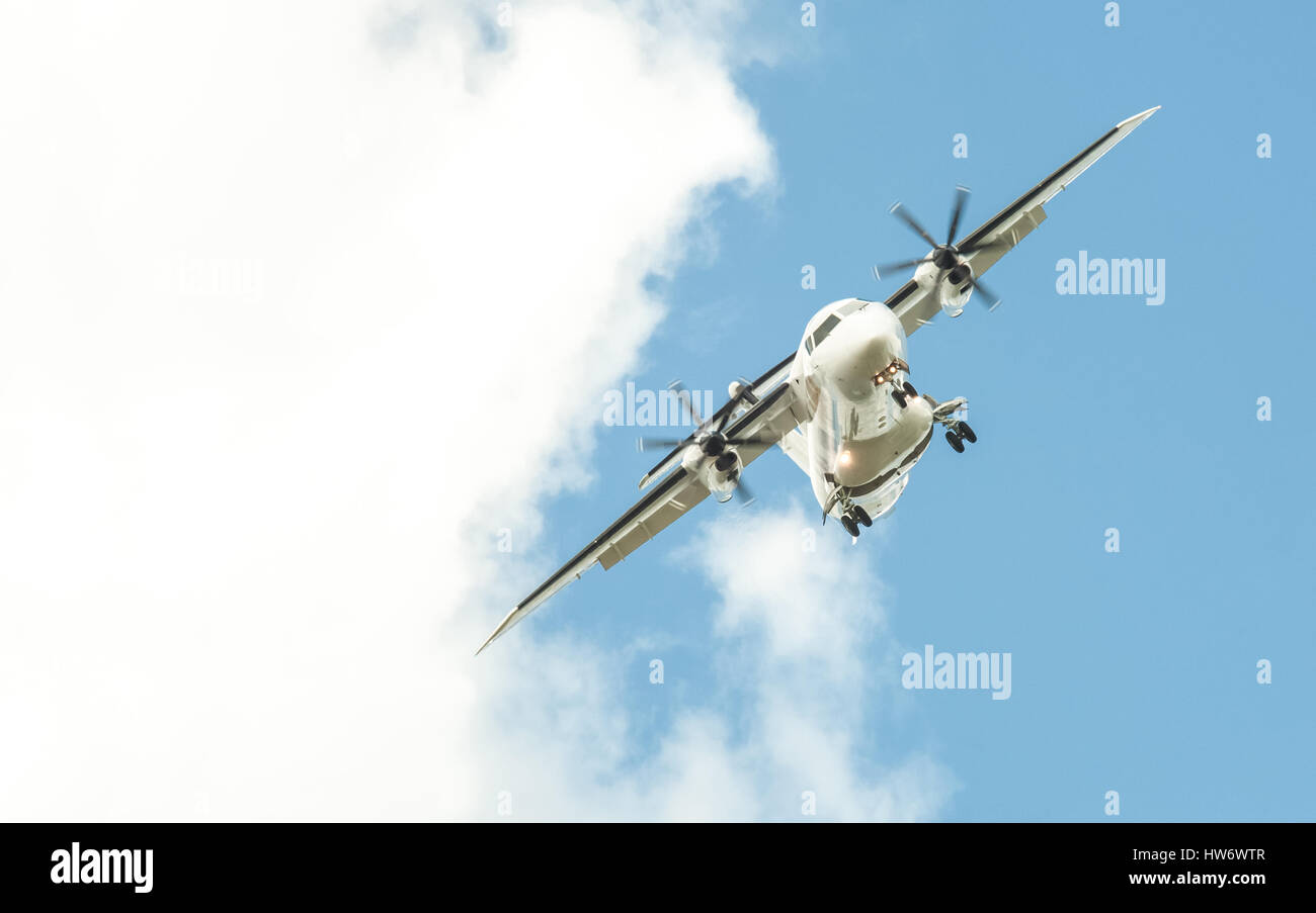 twin engined propeller aircraft emergency landing concept - Stock Image