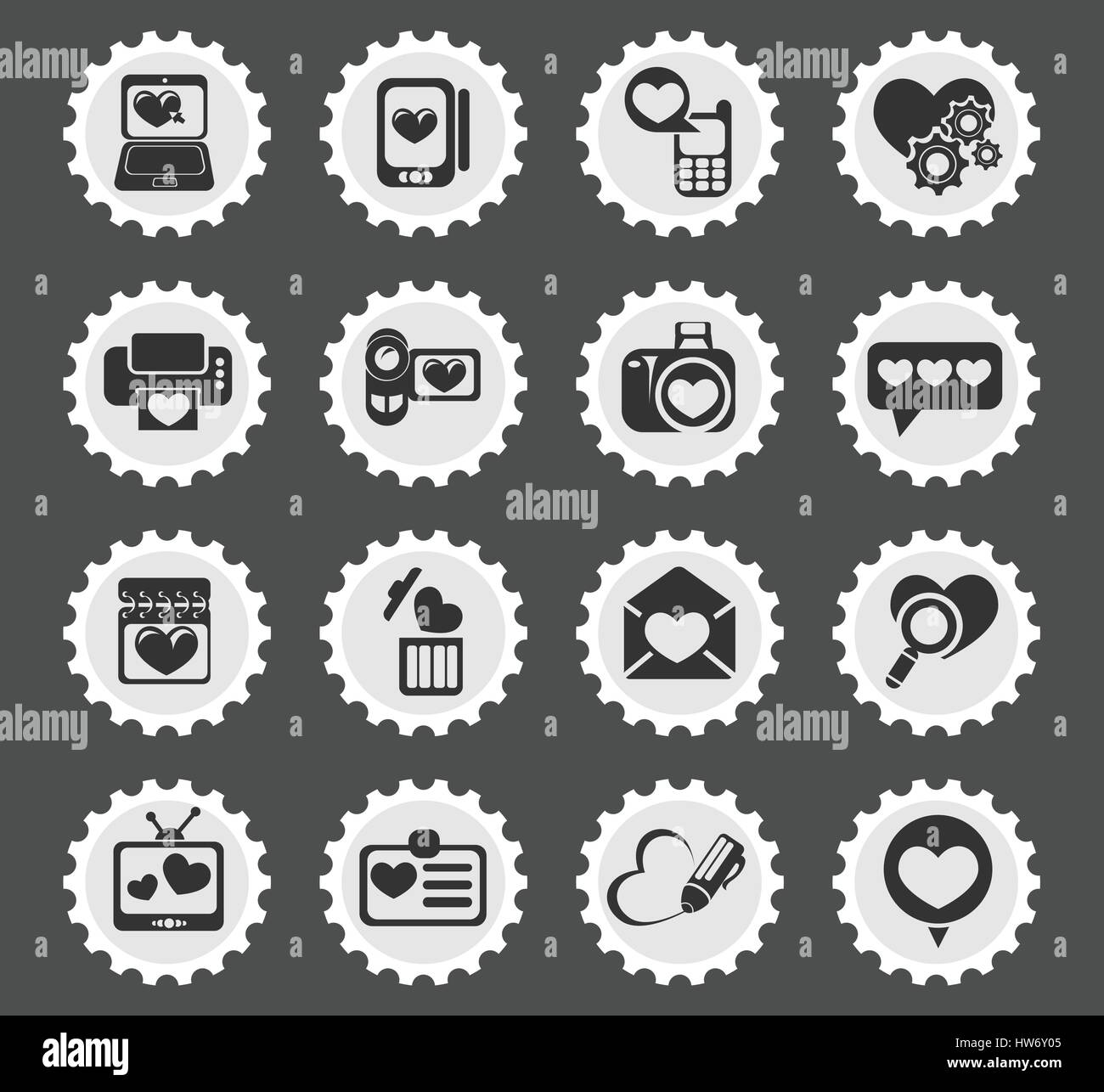 Love Messages Simply Symbols For Web And User Interface Stock Vector