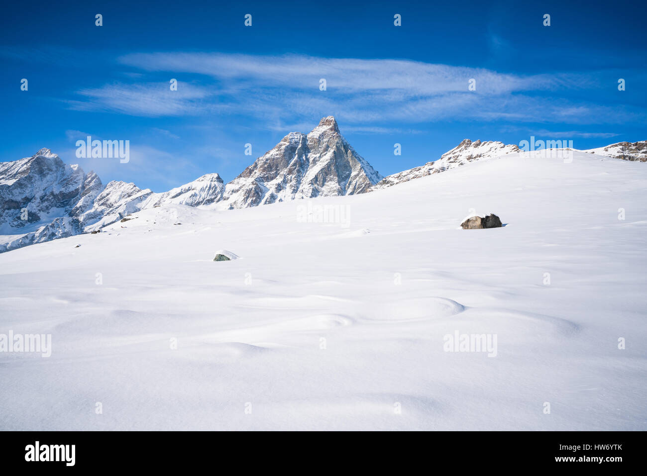 View of Italian Alps and Matterhorn Peak in the Aosta Valley region of northwest Italy. - Stock Image