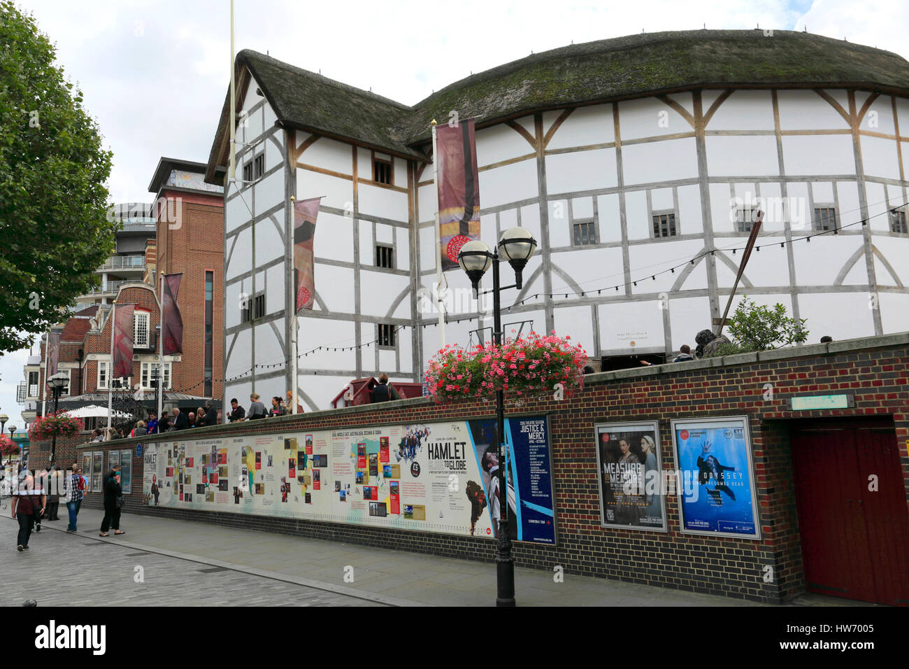 Shakespeares Globe Theatre, Bankside, Southwark, South Bank, London City, England, United Kingdom - Stock Image