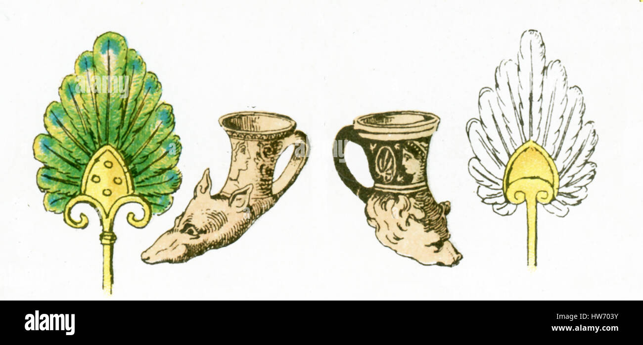 The illustration here shows ancient Greek artifacts. They are from left to right: a fan, two drinking horns, and - Stock Image