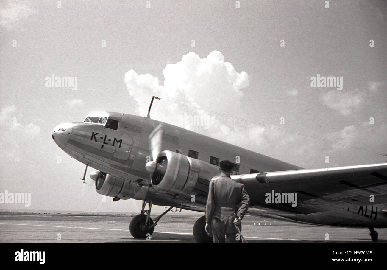 1930s, historical, KLM propellered all-metal twin-engined Douglas DC-2 on the runway after landing at Prague-Ruzyne - Stock Image
