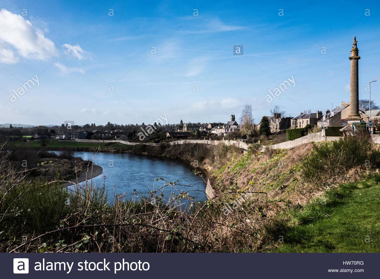 River Tweed, Coldstream, Scottish Borders, UK. 14th March 2017.  The River Tweed in the town of Coldstream. The - Stock Image