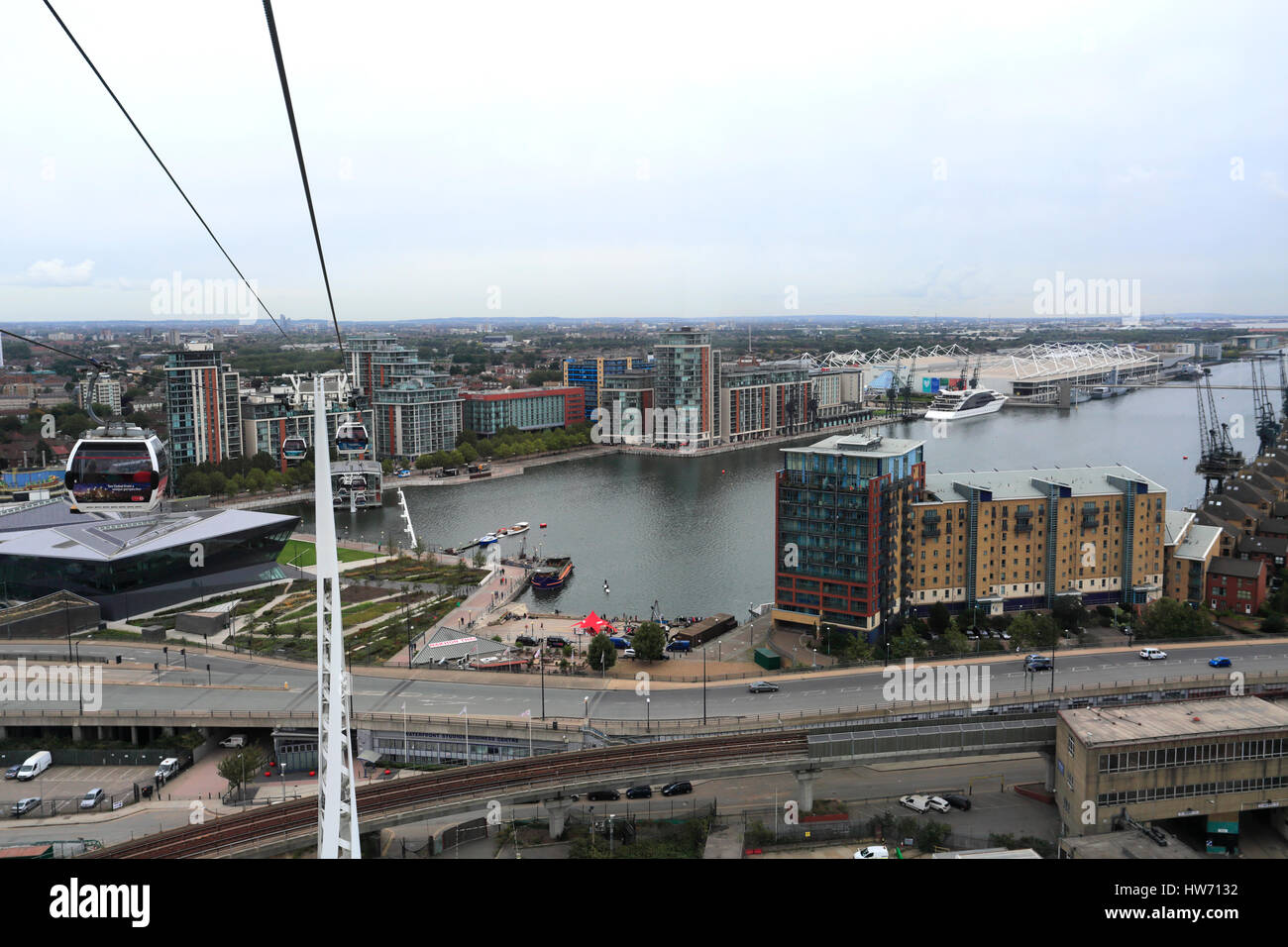 View from the Emirates Air Line (cable car), Royal Docks Terminal, London, England Stock Photo