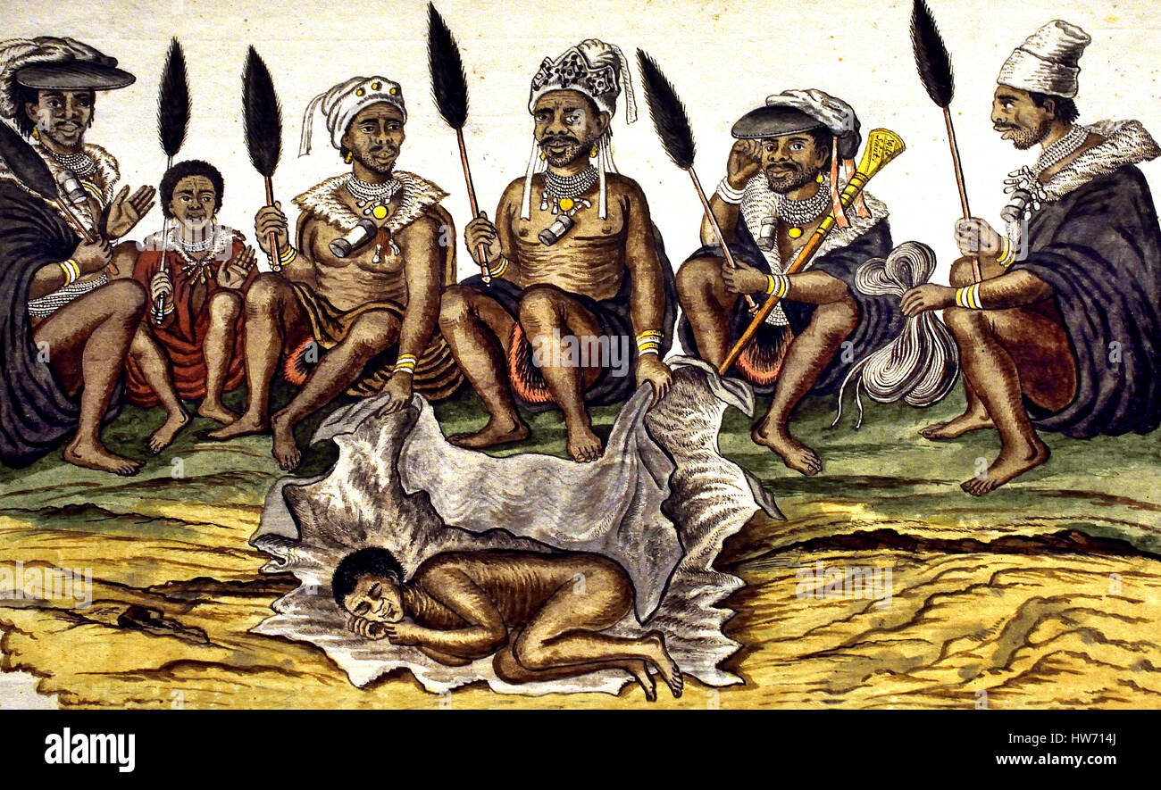 Burial of a Khoekhoen man - South Africa - Transvaal - African - Stock Image