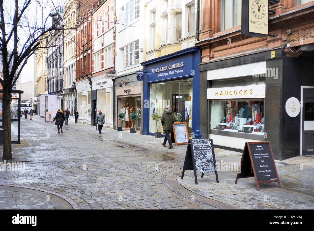King Street in Manchester city centre is an exclusive shopping area, noted for wealthy people and footballers wives. - Stock Image
