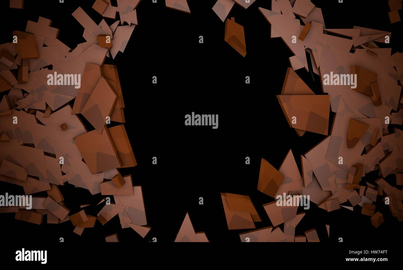 Shattered Brown objects,sample text background 3d render, working - Stock Image
