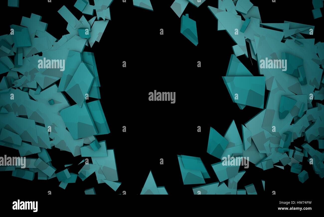 Shattered blue objects,sample text frame background 3d render , working - Stock Image
